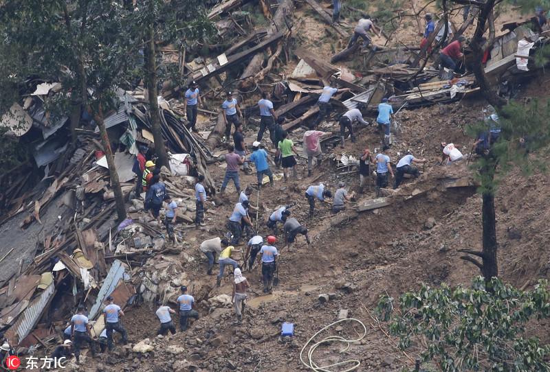 超强台风肆虐菲律宾,数十人被掩埋