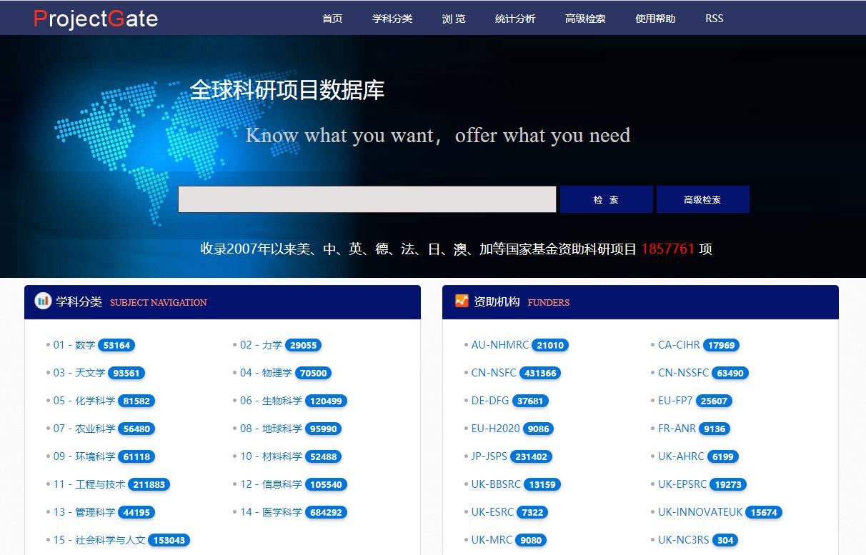 全球科研项目数据库官网